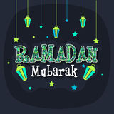 Greeting card with stylish text and lanterns for Ramadan Kareem. Stock Images