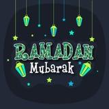Greeting card with stylish text and lanterns for Ramadan Kareem. Beautiful floral design decorated creative text Ramadan Mubarak with hanging lanterns and stars Stock Images