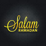 Greeting card with stylish text for Ramadan Kareem. Elegant greeting card with shiny text Salam Ramadan on seamless floral design decorated black background for Stock Images