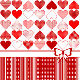 Greeting card with stylized hearts Stock Images