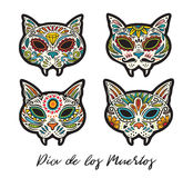 Greeting card with sugar skull cats. Traditional holiday in Mexico. Royalty Free Stock Photography
