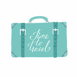 Greeting card with suitcase about travel, vacation, adventure. Stock Images