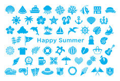Greeting card with summer icons. Royalty Free Stock Images