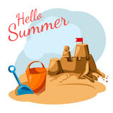 Greeting card Summer. Greeting card with toys and sandcastles Royalty Free Stock Images