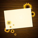 Greeting Card with Sunflowers Royalty Free Stock Photography
