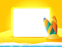 Greeting card with surfboard on a yellow background. And white space for text Stock Photography