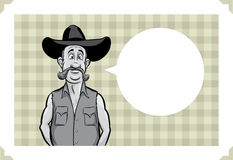 Greeting card with surprised cowboy. Sarcastic meme layered vector illustration. Personalize it with your own humorous message Stock Images