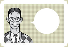 Greeting card with surprised geek man royalty free illustration