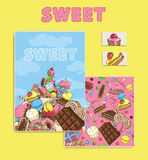 Greeting card. Sweet Branding Design. Sweet design set cards. Sw Royalty Free Stock Photo