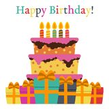 Greeting Card with Sweet Cake for Birthday Celebration. Vector illustration Stock Photo