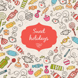 Greeting card Sweet holidays. Vector greeting card with sweet, candy and tea Royalty Free Stock Photos