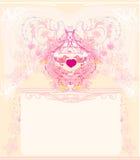 Greeting card with 2 sweet love birds. Wedding invitation Stock Photo