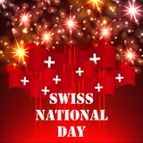 Greeting card for Swiss Independence Day. Swiss National Day August 1st. Fireworks in honor of Swiss independence. The flags of Switzerland with a white cross Stock Illustration