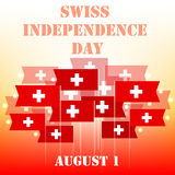 Greeting card for Swiss Independence Day. Swiss National Day August 1st. The flags of Switzerland with a white cross. Vector illustration Vector Illustration