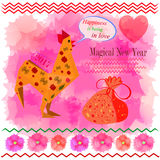 Greeting card with symbol of New Year. The red Rooster wants luck in love Royalty Free Stock Photography