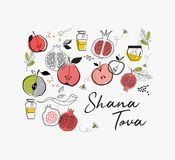 Greeting card with symbols of Jewish holiday Rosh Hashana , New Year. blessing of Happy new year, shana tova. vector stock illustration