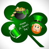 Greeting card with symbols of St. Patrick`s Day. With a pot of gold coins, a mug of green beer, clover and leprechaun in a green hat Stock Illustration