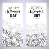 Greeting card tamplate. With happy womans day wishes and a bouquet of lily and sakura flowers Royalty Free Stock Images