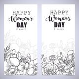 Greeting card tamplate. With happy womans day wishes and a bouquet of lisianthus and orchid flowers Royalty Free Stock Images