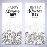 Greeting card tamplate. With happy womans day wishes and a bouquet of marygold and bluebells flowers Stock Photo