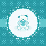 Greeting card with teddy bear for baby boy. Royalty Free Stock Image