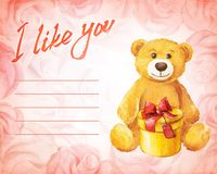 Greeting card. Teddy bear with a gift on a background of pink roses. Watercolor vector illustration. Stock Images