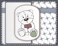 Greeting card with teddy bear toy sketch Royalty Free Stock Image