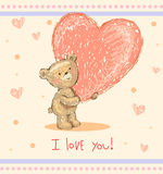 Greeting card with teddy bear Stock Photography