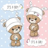 Greeting card with Teddy Bears. Baby Shower greeting card with Teddy Bears vector illustration