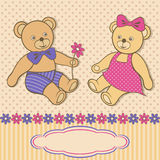 Greeting card with teddy bears Stock Image