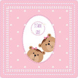 Greeting card with teddy bears and flowers Stock Images