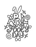 Greeting Card Template for April Fool`s Day, Doodle. Funny Letters, Bows, Heart and Swirls. Holiday Poster, Flyer, Banner, Invitation. Contour Doodle Style Vector Illustration