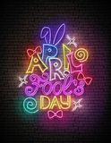 Greeting Card Template for April Fool`s Day. Funny Glow Signboard with Letters, Bows and Swirl. Neon Light Poster, Flyer, Banner. Brick Wall, Horisontal Stock Illustration