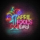 Greeting Card Template for April Fool`s Day. Vintage Glow Signboard with Letters and Jester Hat. Neon Light Poster, Flyer, Banner. Seamless Brick Wall. Vector Royalty Free Illustration