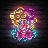 Greeting Card Template for April Fool`s Day, Happy Birthday Conc. Ept. Glow Signboard with Cute, Lovely Clown. Neon Light Poster, Flyer, Banner, Postcard Stock Photos