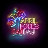 Greeting Card Template for April Fool`s Day. Vintage Glow Signboard with Letters and Jester Hat. Neon Light Poster, Flyer, Banner. Glossy Black Background Vector Illustration