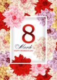 Greeting card template with background flowers March 8 International Women`s Day. Vector. Illustration Stock Illustration