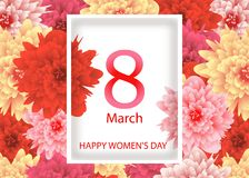 Greeting card template with background flowers March 8 International Women`s Day. Vector. Illustration Stock Photos