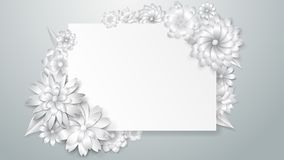 Greeting card template with paper flowers Royalty Free Stock Photography