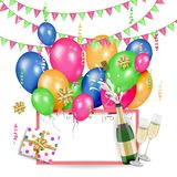 Greeting card template with birthday party objects Royalty Free Stock Photos