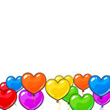 Greeting card template with bright and colorful heart shaped balloons Stock Photos
