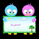 Greeting card template with cartoon birds Royalty Free Stock Images