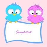 Greeting card template with cartoon birds Stock Photo