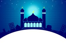 Greeting Card Template Eid and Ramadan. Ramadan and Eid Mubarak Greeting Card Illustration for Islamic Celebration with Mosque and City Shilloute in Blue Color