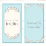 Greeting card template floral background. Design stationery set in vector format. Wedding card or invitation, shabby chic Stock Images
