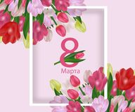 Greeting card template with flowers March 8 International Women`s Day. Background with tulips and text in Russian March 8. Vector. Illustration Stock Illustration