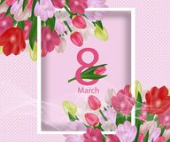 Greeting card template with flowers March 8 International Women`s Day. Background with tulips. Vector. Illustration royalty free illustration