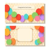 Greeting card template. Flying paper cut balloons. Vector applique illustration. Flat festive balloons decoration for. Design celebrate flyer party banner, card Royalty Free Stock Images