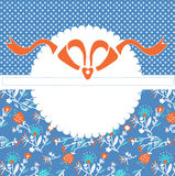 Greeting card template with frame and pattern with bow Stock Photos