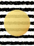 Greeting card template. Gold glitter foil dots confetti on striped white and black background. EPS 10 vector illustration